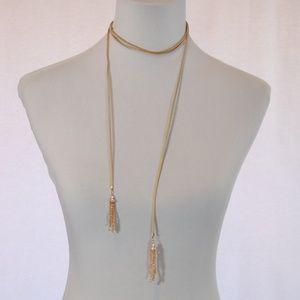 Jewelry - Convertible Tie Tassle Wrap Necklace